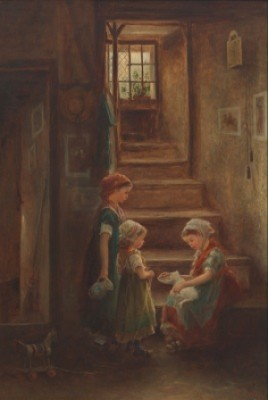 Children Feeding A Kitten by James Crawford THOM