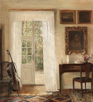 Interiör Med Cello by Carl HOLSÖE