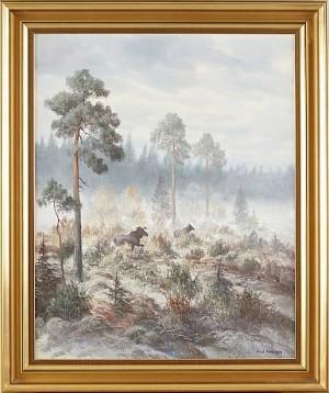 älgar I Skogslandskap by Arvid ANDERSSON