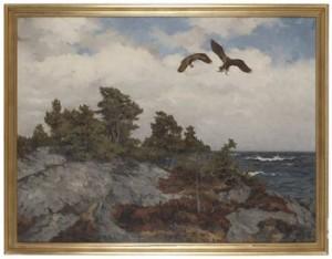 Havsörnar Med Byte, Motiv Från Torö by Rolf MELLSTRÖM