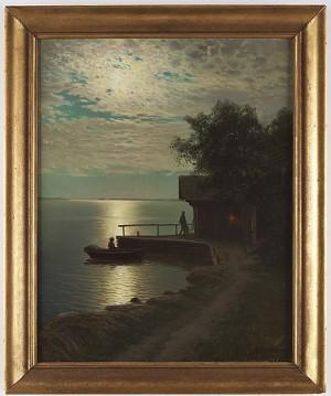Fiskeläge I Månsken by Carl Wilhelm JAENSSON