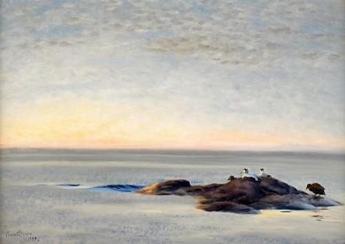 Aftonstämning Med Ejdrar På Kobbe by Bruno LILJEFORS