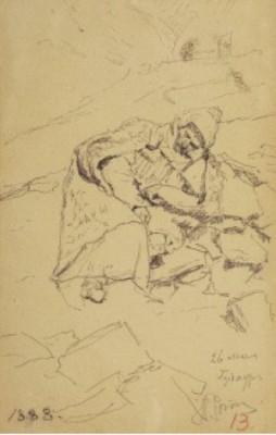A Resting Wanderer by Ilya Efimovich REPIN