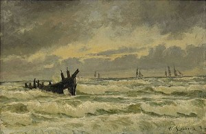 Kustvy Med Segelbåtar Vid Horisonten by Carl LOCHER