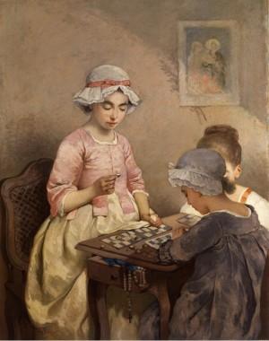 Drei Mädchen Beim Brettspiel by Charles CHAPLIN