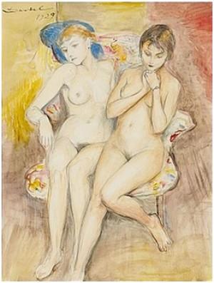 Två Flickor I En Stol by Nils Von DARDEL