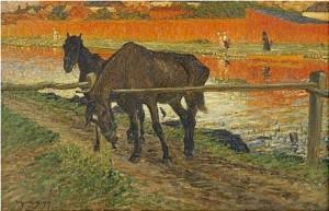 Hästar Vid Ett Led (kalmar) by Nils KREUGER