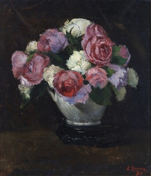 Roses In A Porcelain Vase by Louis SPARRE