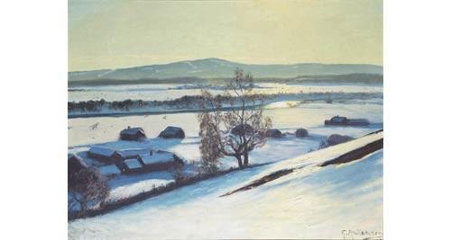 Vinterlandskap Med Gårdar Och Frusen älv by Gustaf ANKARCRONA