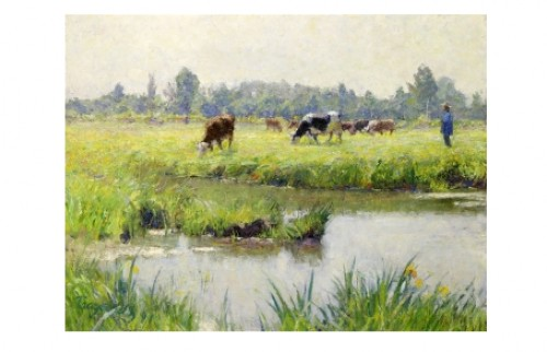 Franskt Landskap Med Boskap Vid Vattendrag by Carl TRÄGÅRDH