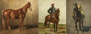 A Group Of Three Equine Paintings by Rudolf Feodorovich FRENTZ