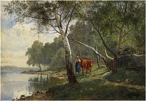 Landskap Med Björkskog Och Vallflicka Vid Sjö by Edward BERGH