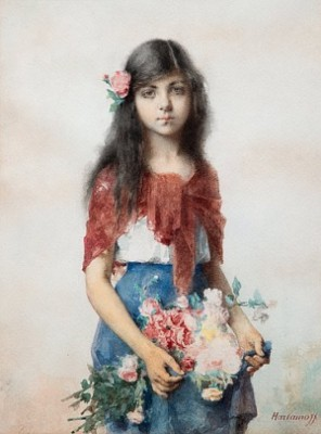 Girl With Flowers by Alexei Alexeievich HARLAMOFF