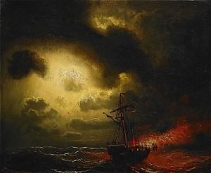 Dramatiskt Kustlandskap Med ångbåt I Brand by Marcus LARSON