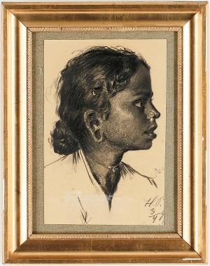 Porträtt. Enligt Text A Tergo Föreställande Hinduflickor by Hugo Vilfred 'Hugo Vp' PEDERSEN