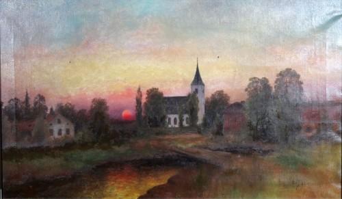 Landskap Med Kyrka by Carl HALLSTRÖM