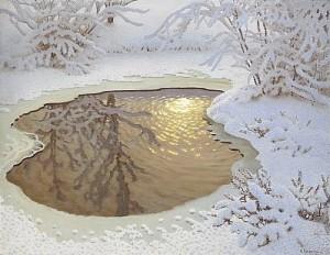 Vinterlandskap by Gustaf FJÆSTAD
