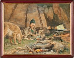 Samiskt Barn Med Hundar by Johan TIRÉN