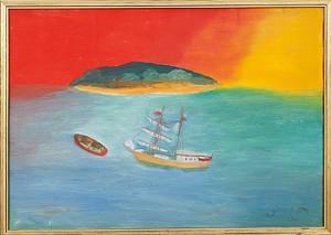 Havsvy Med Båt by Primus Mortimer PETTERSSON