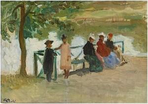 Damer Sittandes På En Bänk by Georg PAULI
