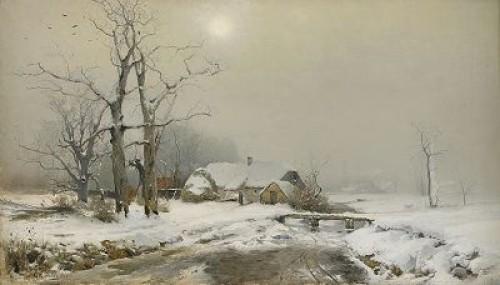 Skånegård I Snö by Gustaf RYDBERG