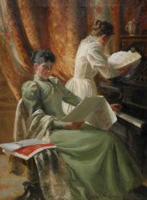 Interiör Med Musicerande Kvinnor Vid Pianot by Emil LINDGREN