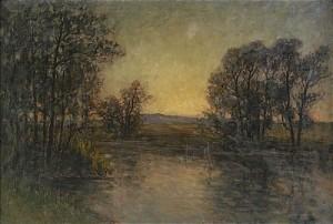 Landskap Med Träd Vid Vatten - Aftonljus by Per EKSTRÖM