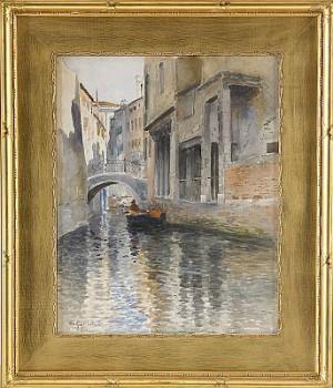 Kanalmomotiv Från Venedig by Wilhelm Von GEGERFELT