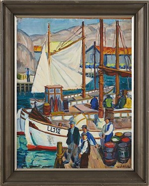 Fiskehamn Med Figurer by Spiros Georg XENOS