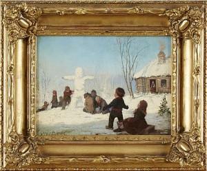 Lekande Barn I Snö by Axel Gillis HAFSTRÖM