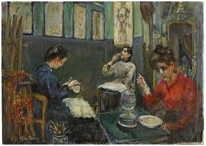 Académie Julian (stora Dame Ateliern) Med Mademoiselle Beson Som Dricker Ur Sitt Glas by Wilhelmina 'Mina' CARLSON-BREDBERG