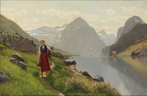 Fjordlandskap Med Flicka by Emma Pastor NORMANN