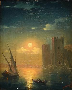 Evening Light Over The Fort by Ivan Konstantinovich AIVAZOVSKY