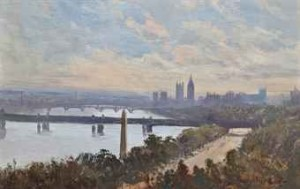 Cleopatra's Needle, With Westminster Beyond by George Hyde POWNALL