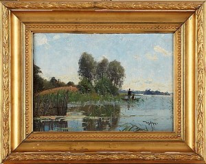Insjölandskap Med Fiskebåt by Wilhelm BEHM