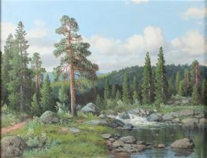 Landskap Med Tallar Och Vattendrag by Thorvald RYGAARD