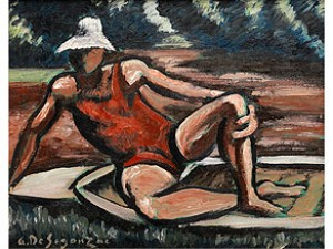 Junger Mann In Rotem Badeanzug Und Weissem Hut Auf Einem Badetuch by André Albert Marie DUNOYER DE SEGONZAC
