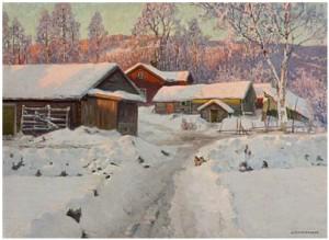 Vintersol Over Gården by Anshelm SCHULTZBERG