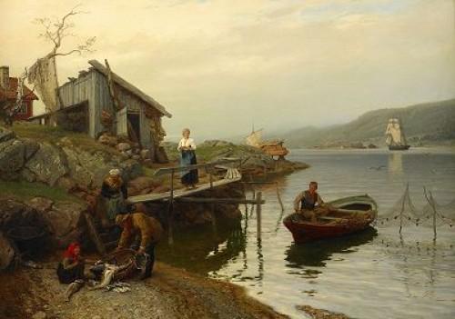 Fiskarfamilj Vittjar Fångsten by Hans Fredrik GUDE