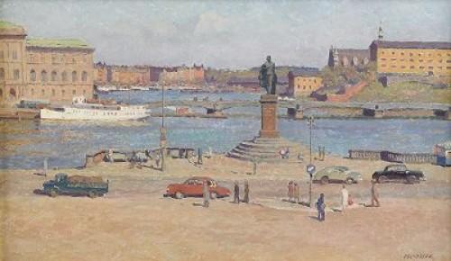 Utsikt Från Slottsbacken Med Strandvägen I Fonden - Stockholm by Bernhard OSCARSSON