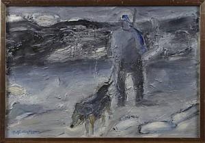 Jägare Med Jakthund by Rolf Erling NYGREN