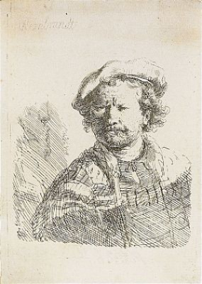 Self Portrait In A Flat Cap And Embroidered Dress by Rembrandt Harmenszoon Van RIJN