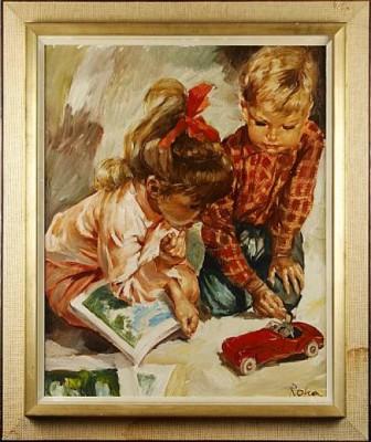 Lekande Barn by Charles ROKA