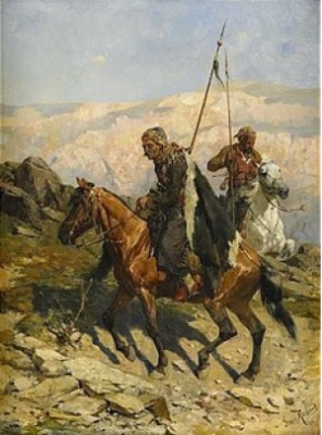 Riding Kosacks by Franz Alexeivich ROUBAUD