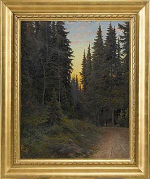 Skogsväg I Aftonrodnad by Anshelm SCHULTZBERG