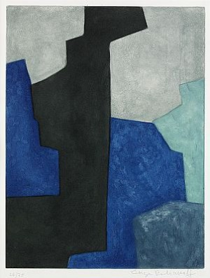 Composition Noir, Bleue Et Mauve by Serge POLIAKOFF