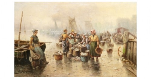 Fish Market by Adolf Constantin The Elder BAUMGARTNER
