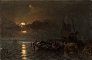 Fishing Boat In The Moonshine by Carl HILGERS