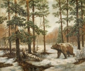 Björn I Vinterlandskap by Vladimir Leonidovich MURAWJOFF