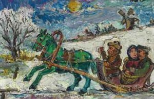 Couple Riding In Horse-drawn Sled by David Davidovich BURLIUK